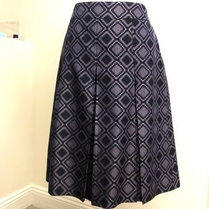 Ann Taylor 8, Purple Diamond Print Box Pleat Skirt